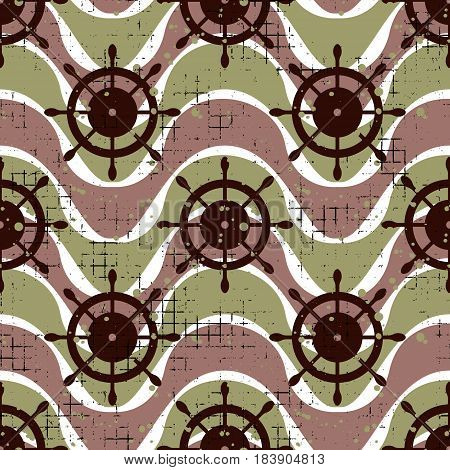 Vector Seamless Patterns Background With Steering Wheel, Waves Creative Geometric Vintage Background