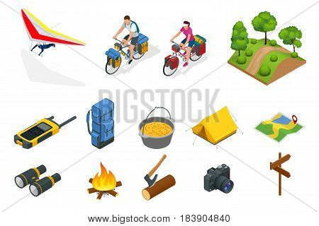 Isometric hang glider, bikers on bicycle with travelling bag for travel, Camping equipment isolated on white Vector collection. Base camp gear and accessories