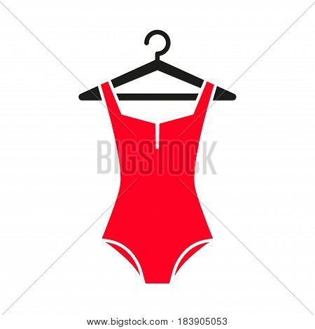 Red swimsuit icon on hanger. Flat illustration of red swimsuit vector icon for web isolated on white background