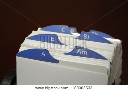 Index cards for business clients communications
