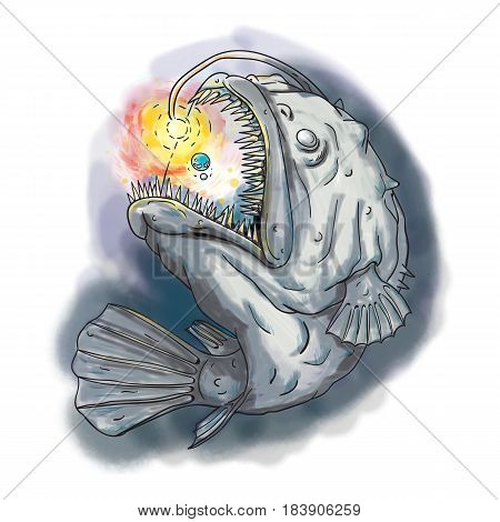 Watercolor style illustration of an Anglerfish of teleost order Lophiiformes that are bony fish named for their characteristic mode of predation which a fleshy growth from fish's head (the esca or illicium) acts as a lure swooping up a solar system viewed