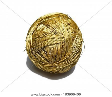 Tub of synthetic gold threads isolated on white background