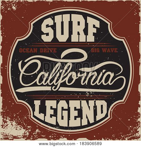 California surf typography, t-shirt graphics, Stock Vector Illustration.