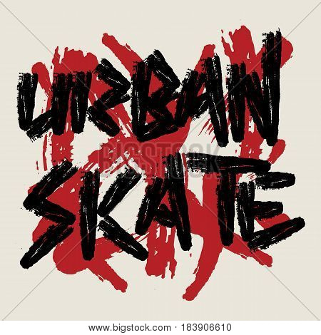 Skate sport typography, For t-shirt or other uses. Stock Vector Illustration.