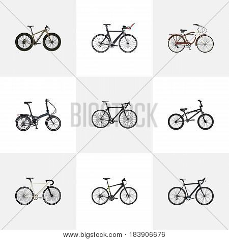 Realistic Bmx, Cyclocross Drive, Road Velocity And Other Vector Elements. Set Of Sport Realistic Symbols Also Includes Bike, Bicycle, Cruise Objects.
