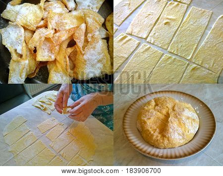 Fragments and ingredients of home cookies of Ukrainian cuisine - brushwood (verguns)