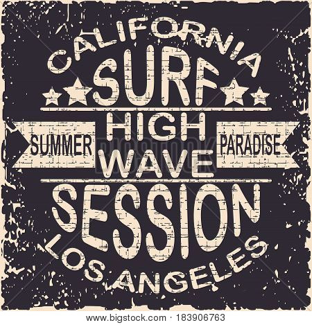 California surf typography, Los Angeles, summer paradise. For t-shirt or other uses. Stock Vector Illustration.