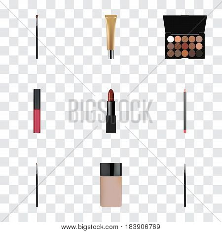 Realistic Eye Paintbrush, Multicolored Palette, Cosmetic Stick And Other Vector Elements. Set Of Greasepaint Realistic Symbols Also Includes Concealer, Cosmetic, Pencil Objects.