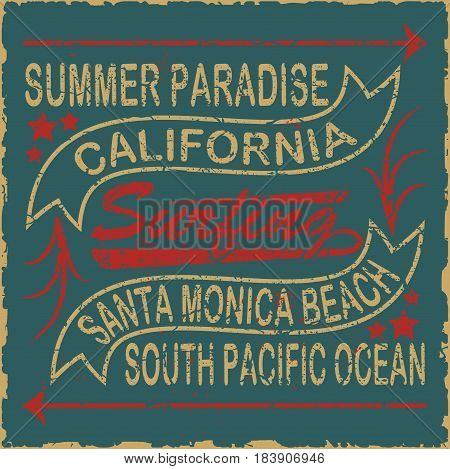 California surf typography, summer paradise, south pacific ocean. For t-shirt or other uses. Stock Vector Illustration.