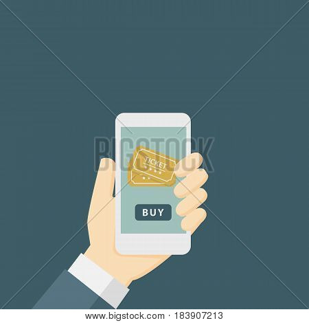 Online Ticket Order Illustration. People Buy Cinema Ticket with Mobile Phone
