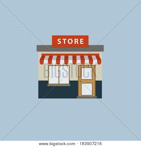 Storefront in flat style. Flat design of store building illustration