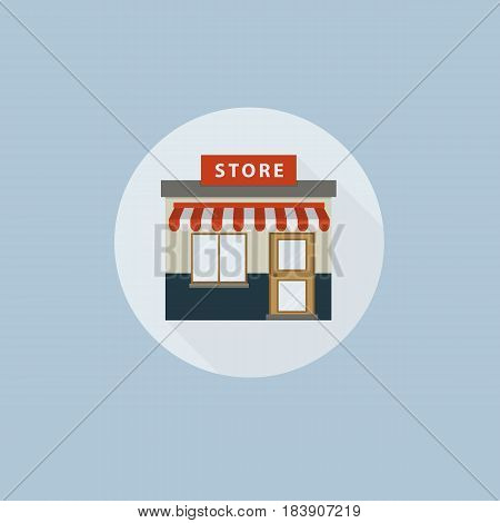 Store icon in flat style. Flat design of store building icon illustration