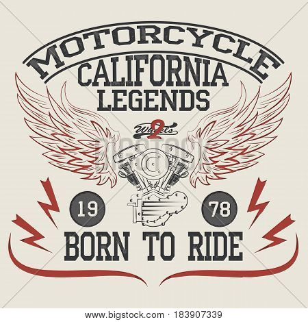 Motorcycle Racing Typography Graphics. T-shirt Design. Vintage typography design for biker club. Bikers wear.