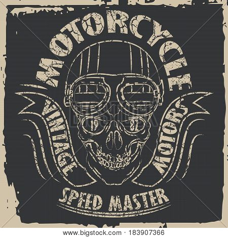 Tee skull motorcycle graphic design. Motorcycle T-shirt Design.Racing Typography Graphics. Bikers wear.