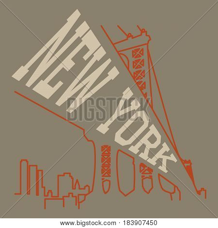 New York T-shirt Typography. Stock Vector Illustration.