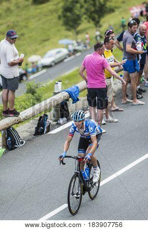 Col de PeyresourdeFrance- July 23 2014: The Lithuanian cyclist Ramunas Navardauskason (Team Garmin