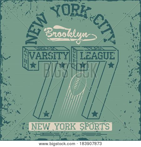 New York  Sport wear typography emblem, american football, vintage,  college , superior, sports graphics for t-shirt