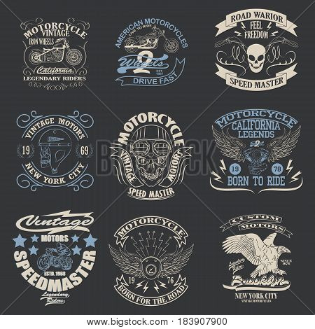 Motorcycle typography set, t-shirt graphics, Stock Vector Illustration.