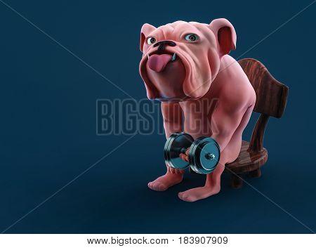 Muscular Cartoon Bulldog Lifting Dumbbell While Sitting On Chair