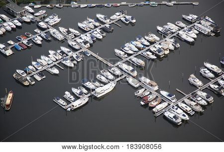 Aerial view of the marina bay of Hattem in the Netherlands