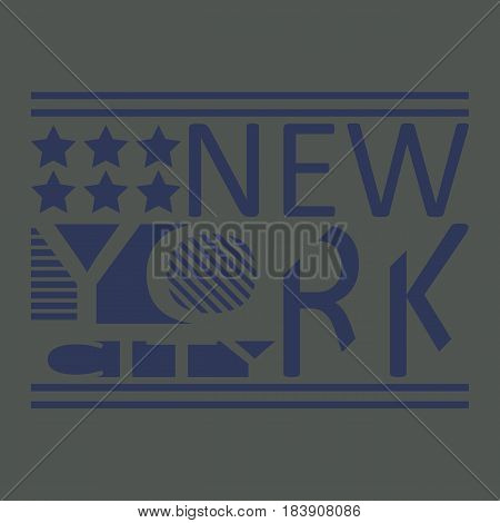 New York T-shirt Typography Graphics, Stock Vector Illustration.