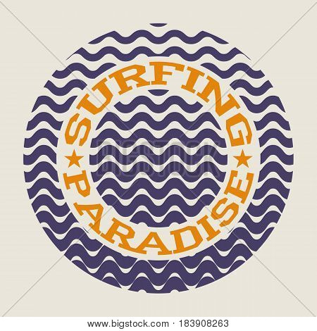 Surf typography, For t-shirt or other uses. Stock Vector Illustration.