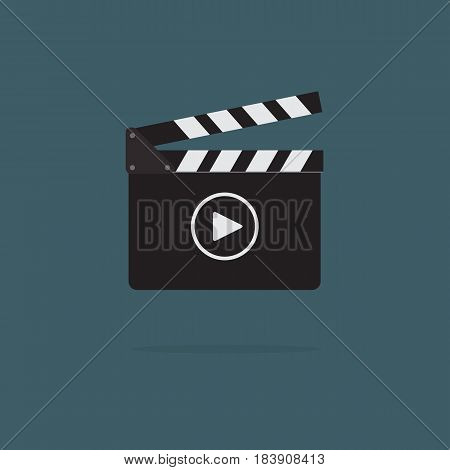 Clapperboard with play button icon, video movie clapper equipment
