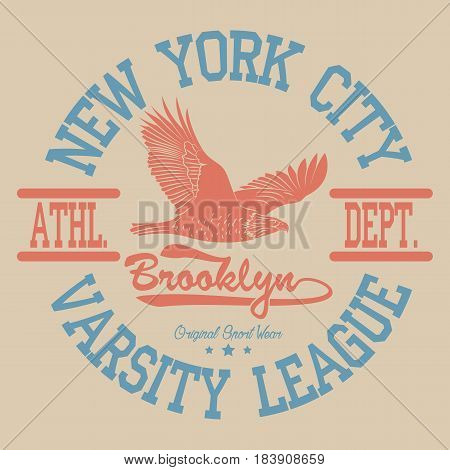 New York Sport wear, sport typography emblem, t-shirt stamp graphics, athletic apparel design