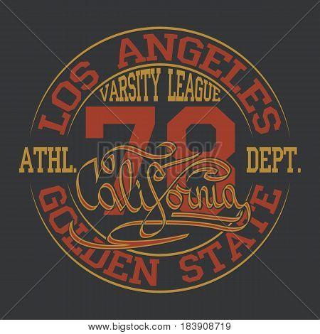 Los Angeles typography design, vintage print stamp, Sports wear typography emblem, Creative design, athletic apparel design. Vector illustration.