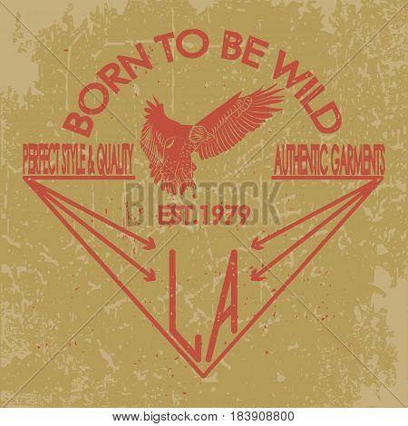 College eagle. Sport tee graphic. Athletic apparel design graphic print