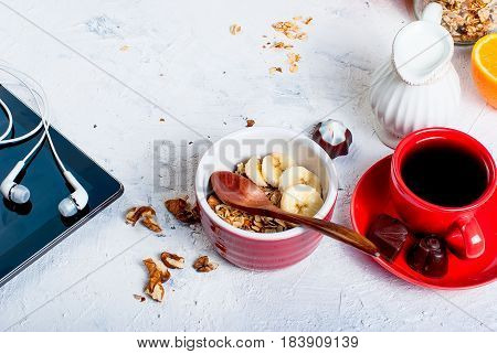Breakfast Granola, A Cup Of Coffee And Phone