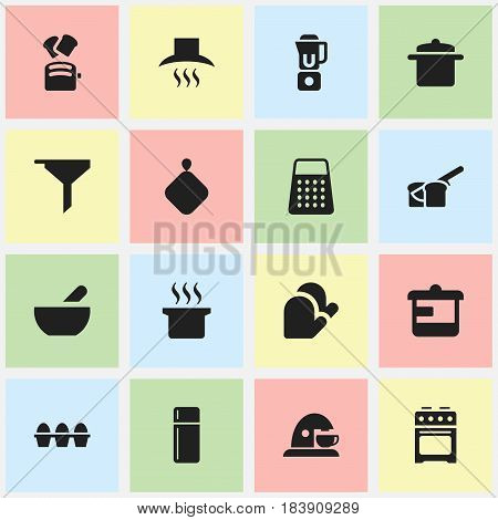 Set Of 16 Editable Cooking Icons. Includes Symbols Such As Cup, Cookware, Bakery And More. Can Be Used For Web, Mobile, UI And Infographic Design.