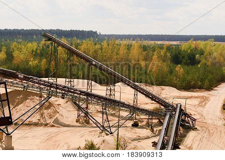 Sand Quarry And Conveyor Belts. Construction Industry. Horizontal  Photo