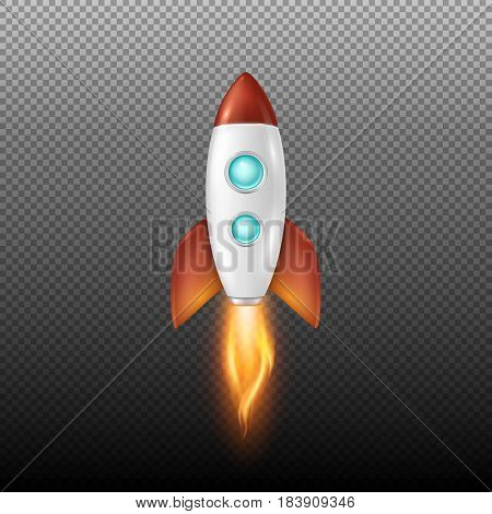 Vector background with retro space rocket ship launch, Template for project start up and development process, creative idea etc.. EPS10 illustration.