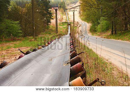 Industrial Conveyor Belt. Construction Industry. Sand Quarry.