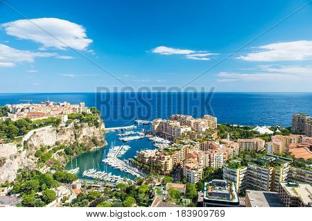 Panoramic view Monaco Fontvieille new district of Monaco with marina and harbor. Mediterranean sea french riviera