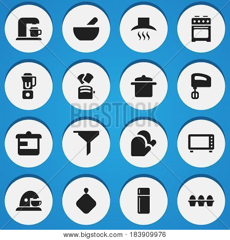 Set Of 16 Editable Meal Icons. Includes Symbols Such As Utensil, Refrigerator, Pot-Holder And More. Can Be Used For Web, Mobile, UI And Infographic Design.