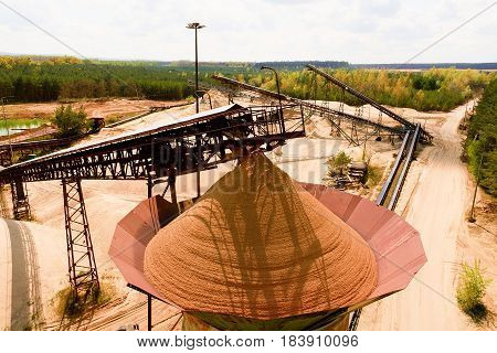 Quarry Aggregate And Conveyor Belts. Construction Industry. Horizontal  Photo.