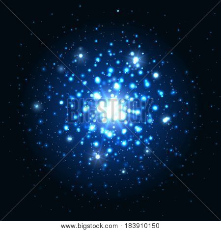 Abstract blue glitter light sparks or black background. Glow sparkly effect at night vector illustration