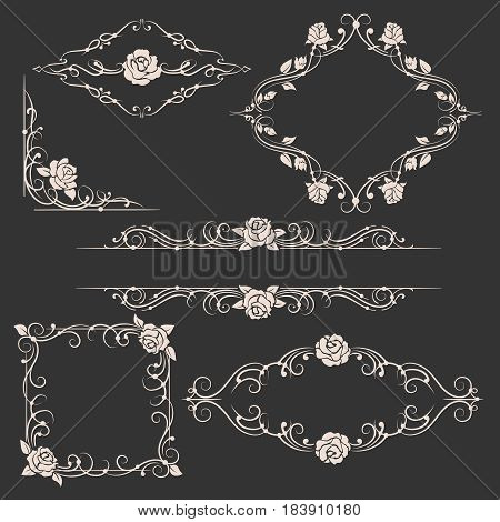 Ornamental floral ornaments and vector rose ornamental frames for flourish wedding invitations with roses decor