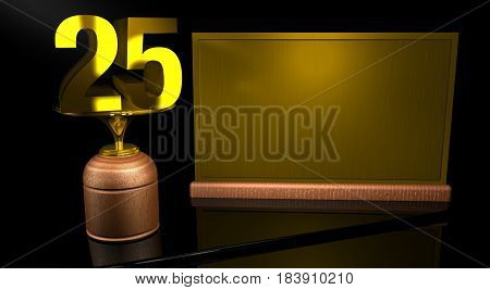 Rendering 3D Wooden trophy with number 25 in gold and golden plate with space to write on mirror table in black background. Commemorative Trophy number 25 for celebrating anniversaries or important dates