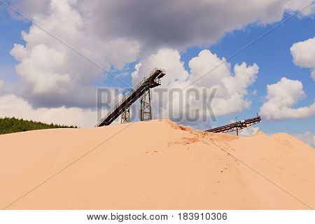 Conveyor Belts And Sand Heaps. Construction Industry. Sand Quarry. Horizontal  Photo