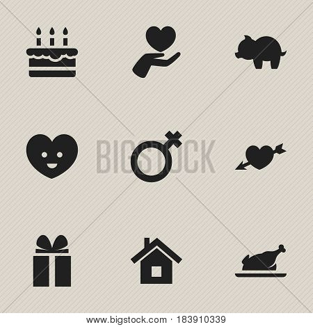 Set Of 9 Editable Kin Icons. Includes Symbols Such As Woman Sign, Patisserie, Home And More. Can Be Used For Web, Mobile, UI And Infographic Design.
