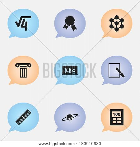 Set Of 9 Editable School Icons. Includes Symbols Such As Molecule, Pillar, School Board And More. Can Be Used For Web, Mobile, UI And Infographic Design.