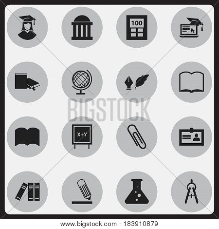 Set Of 16 Editable University Icons. Includes Symbols Such As Literature, Writing, Math Tool And More. Can Be Used For Web, Mobile, UI And Infographic Design.