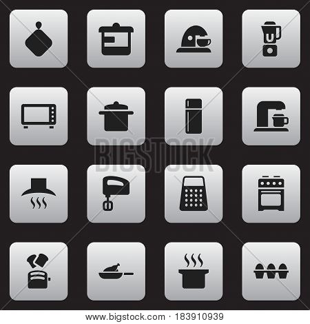 Set Of 16 Editable Cooking Icons. Includes Symbols Such As Cookware, Pot-Holder, Egg Carton And More. Can Be Used For Web, Mobile, UI And Infographic Design.