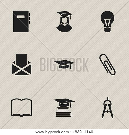 Set Of 9 Editable School Icons. Includes Symbols Such As Workbook, Education, Graduated Female And More. Can Be Used For Web, Mobile, UI And Infographic Design.