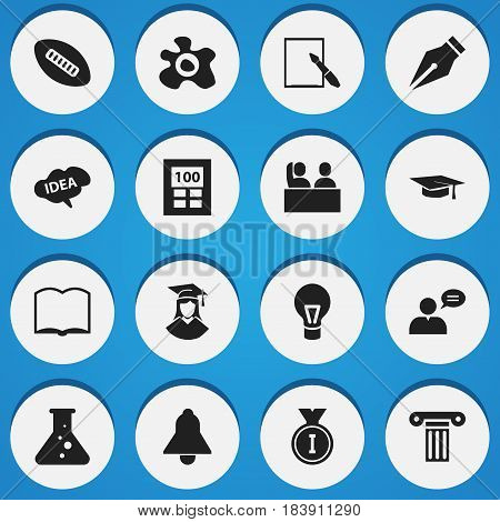 Set Of 16 Editable Science Icons. Includes Symbols Such As Graduation Hat, First Place, Chemistry And More. Can Be Used For Web, Mobile, UI And Infographic Design.