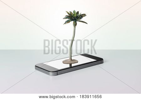 Toy palm tree on a smart phone with colorful background