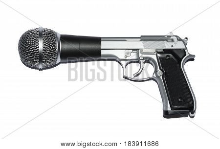 Gun and microphone hybrid metaphor for `Speak Truth to Power.`